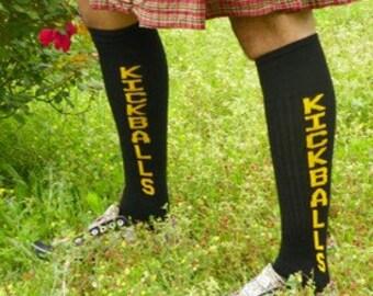 Kickballs knee high tube socks black yellow