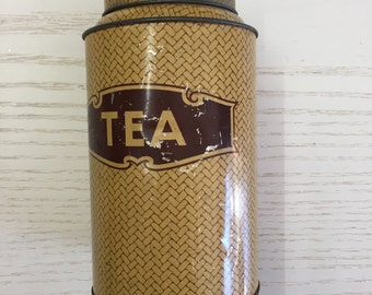 Vintage Tin Tea Canister Metal Tea Container