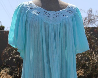 vintage butterfly indian cotton gauze dress turquise small medium large mumu