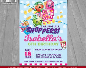 Shopkins Invitation - Shopkins Invite - Shopkins Birthday Printed Invitation - Shopkins Birthday Party - Shopkins Invite