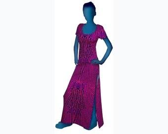 Psychedelic Dress 'Pink Dragonfly' Full length dress, UV active, trippy dress, trance wear, evening wear, long dress, rave festival dress.