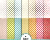 Summer colors dots digital scrapbook paper pack, digital paper, scrapbook background, polka dots background, printable paper, fast scrapbook