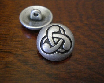 "2 - Celtic Swirls Metal Buttons with Shank 5/8"" (16mm)"