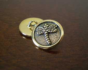 "3 - TierraCast Dragonfly Metal Buttons with Shank, Jewelry Making Supplies, Beading Clasp, 5/8"" (16mm) Fastener, Antique Gold Pewter Closure"
