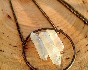 Long brass quartz crystal necklace with circle - raw - beautiful - unique - edgy - boho - natural - genuine - stylish