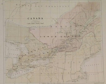Antique Original 1858 Map of Canada by W & A.K. Johnston