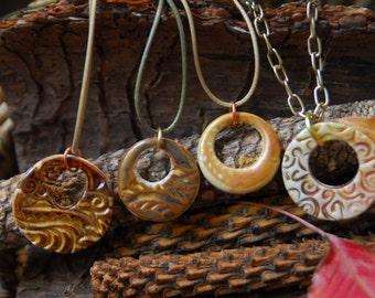 Brown/Gold Ceramic Pendants/Ceramic Jewelry