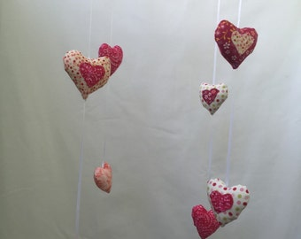 Pink hearts baby mobile