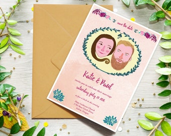 Custom Couple Wedding Invitation, Digital Download, Couples Portrait, Save The Date, Wedding Illustration