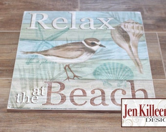 """Sand Piper, Shore Birds Wood Sign, """"Relax at the Beach"""", Coastal Wood Sign, Beach art, Nautical sign,  Ready To Hang"""