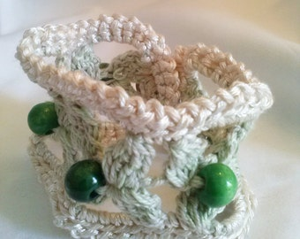 Bracelet 100% cotton with wood beads