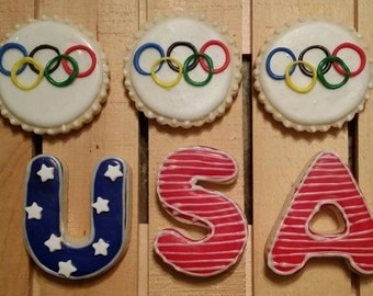 Olympic Cookies - USA Cookies - One Dozen