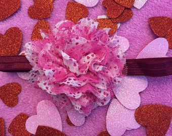 Heart and lace valentines day headband