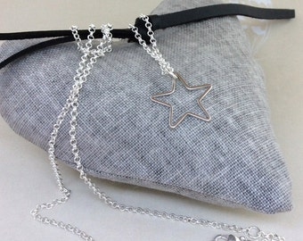 Star Necklace, long necklace, silver star charm, long star necklace, long pendant, gold star charm