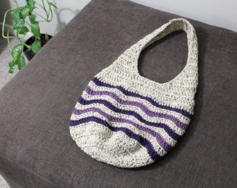 Crochet Chevron Tote Bag | Market Bag | Hobo Bag | Shoulder Bag | Slouchy Bag | Purse | Medium Size | Oatmeal, Dark Purple, Light Purple