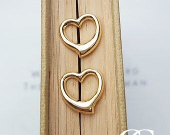 Fine 9ct Yellow Gold Open Heart Stud Earrings
