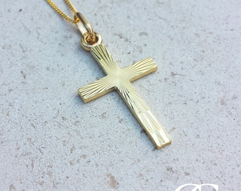 9ct Yellow Gold 2.6cm Textured Cross Crucifix Pendant Necklace