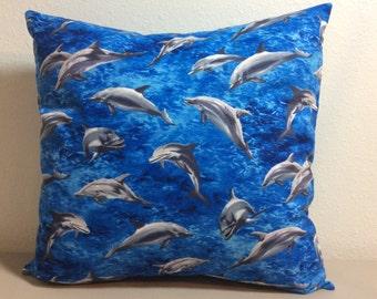 Dolphins Pillow Cover-Beach Pillow-Tropical Pillow-Coastal Pillow-Nautical Pillow-Lake Pillow-Boat Pillow-Sea Life Pillow