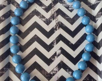 Vintage~Sky Blue Bead Necklace