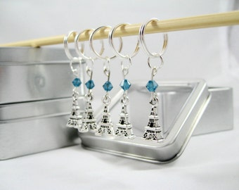 Eiffel Tower Stitch Markers featuring Swarovski Crystals - Free US Shipping!