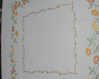 Vintage hand embroidered table cloth Square Orange, mustard, green 1960s