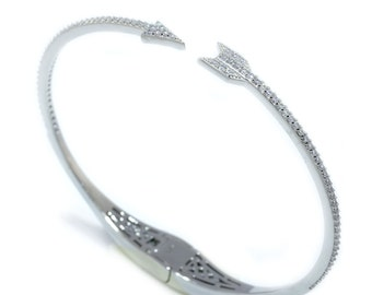 925 Sterling Silver Clear CZ Open Arrow Bangle - 1.08 CT.TW (S183)
