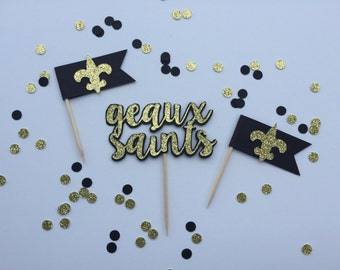 Glitter 'Geaux Saints' Cupcake Toppers