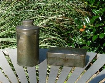 Antique 1930's Metal Shaving Kit w/ Razor Holder and Powdered Shaving Soap Can