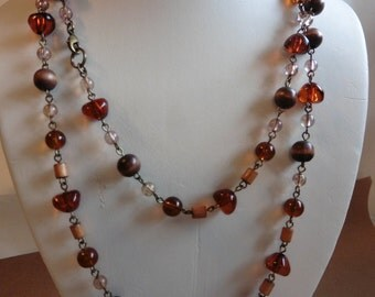 Vintage Glass And Wooden Beaded Necklace
