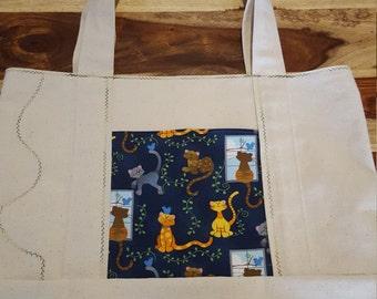 Kitty Cat - Canvas Tote Bag with Pocket - Reusable Grocery Bag - Beach Bag - Market Bag - Shopping Bag