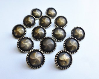 Vintage metal buttons, set of fourteen metal buttons, small metal buttons