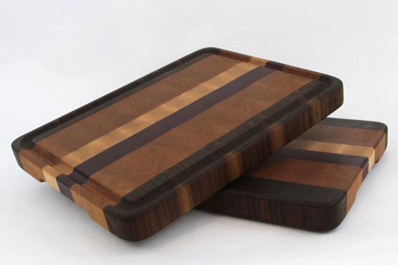 Handcrafted wood cutting board end grain walnut maple cherry and