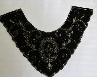 Black Velvet Collar w/ gold embroidery