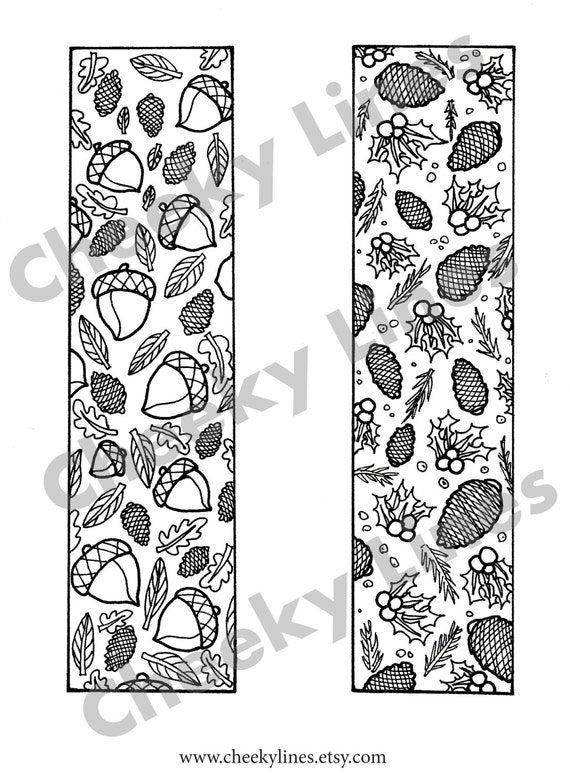 items similar to autumn winter nature set of 2 coloring bookmarks instant digital download. Black Bedroom Furniture Sets. Home Design Ideas