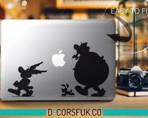 Asterix and Obelix Macbook Stickers on black vinyl   Laptop stickers   Macbook Decal - self adhesive vinyl stickers