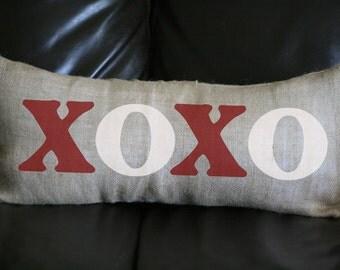 Valentine Pillow, XOXO Pillow, Decorative Pillow, Lumbar Pillow, Whimsical Pillow, Holiday Pillow, 12x24, Burlap Pillow