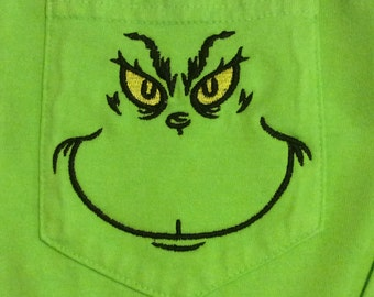 Grinch embroidery pocket tee on long sleeve/short sleeve port authority pigment dyed shirts