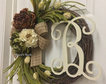 Neutral Front Door Wreath, Monogram Wreath, Front Door Decor, Neutral Tone Wreath