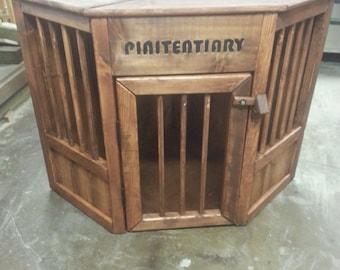 Custom made all wood corner dog kennel!