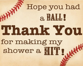 Baby Shower Thank You Tag, Baseball Thank you
