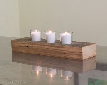 A Rustic Reclaimed Wood 3 Votive Candle Tray or Tealight Holder, Old Growth Hemlock Pine, Table Centerpiece