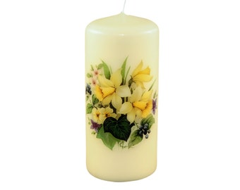 Spring Flowers Pillar Candle