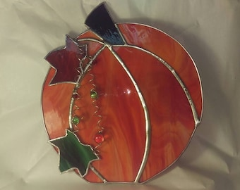 Fall Pumpkin with Green Leaf Overlays Stained Glass Suncatcher, Halloween, Fall Decoration,
