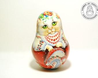 """Cat Roly Poly Musical, Ukraine Doll 5,5"""", Musical Nevalyashka, Musical Wooden Tumbling Doll, Kids Gift, Ukraine art doll, Wooden toys"""