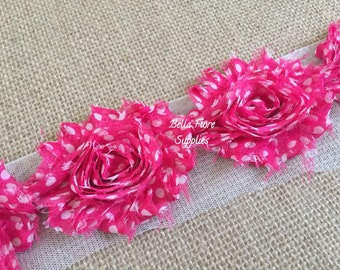 Hot Pink White Polka Dot Shabby Chiffon Rose Trim-2.5 inch- Shabby Chiffon Flowers- Wholesale-
