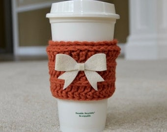 The Cute Cozy in Persimmon with Cream Bow