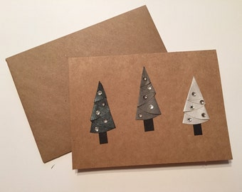 Handmade Christmas Tree Cards - Set of 6