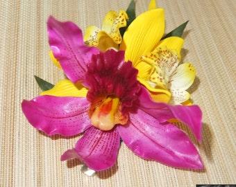 Hawaiian Hideaway Mixed Orchid Foam/Latex Hair Flower -Pinup/Rockabilly/Vintage Girl/VLV-