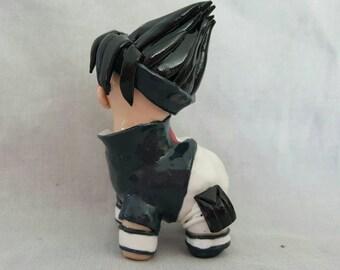 Sasuke Cosplay Alpaca - Naruto Inspired Sasuke Uchiha Chibi Polymer Clay Alpaca Figurine