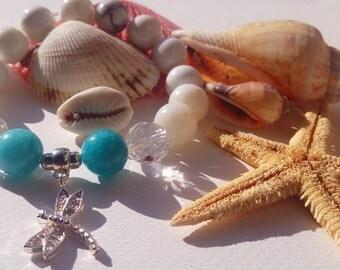 Handmade Beads Bracelet Dragonfly White